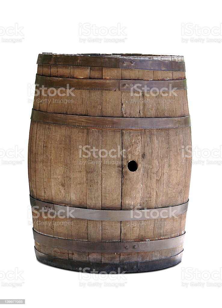 A picture of a wooden barrel on a white background royalty-free stock photo