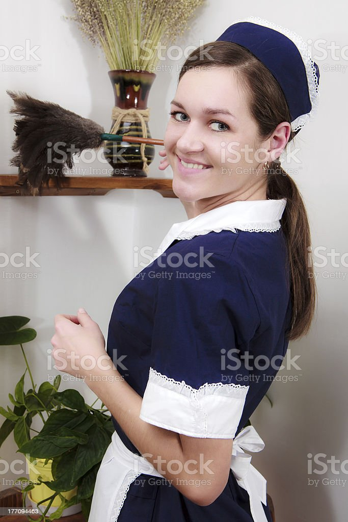 picture of beautiful woman with cleaning sweep stock photo