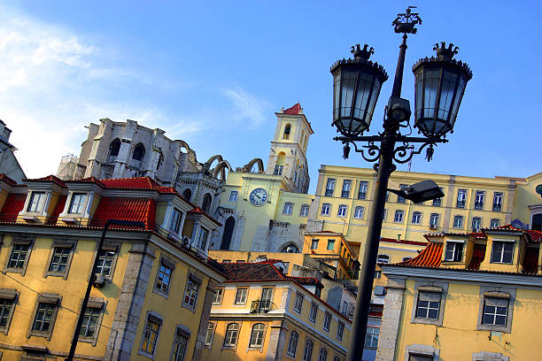 Picture of buildings and a lamppost in Lisbon