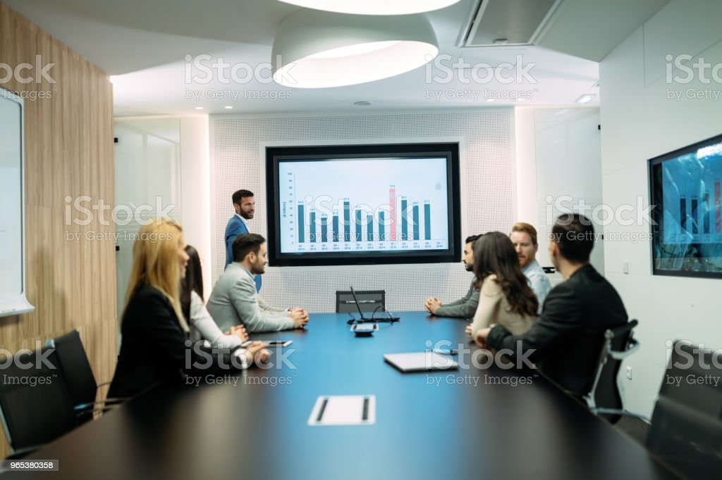 Picture of business meeting in conference room zbiór zdjęć royalty-free