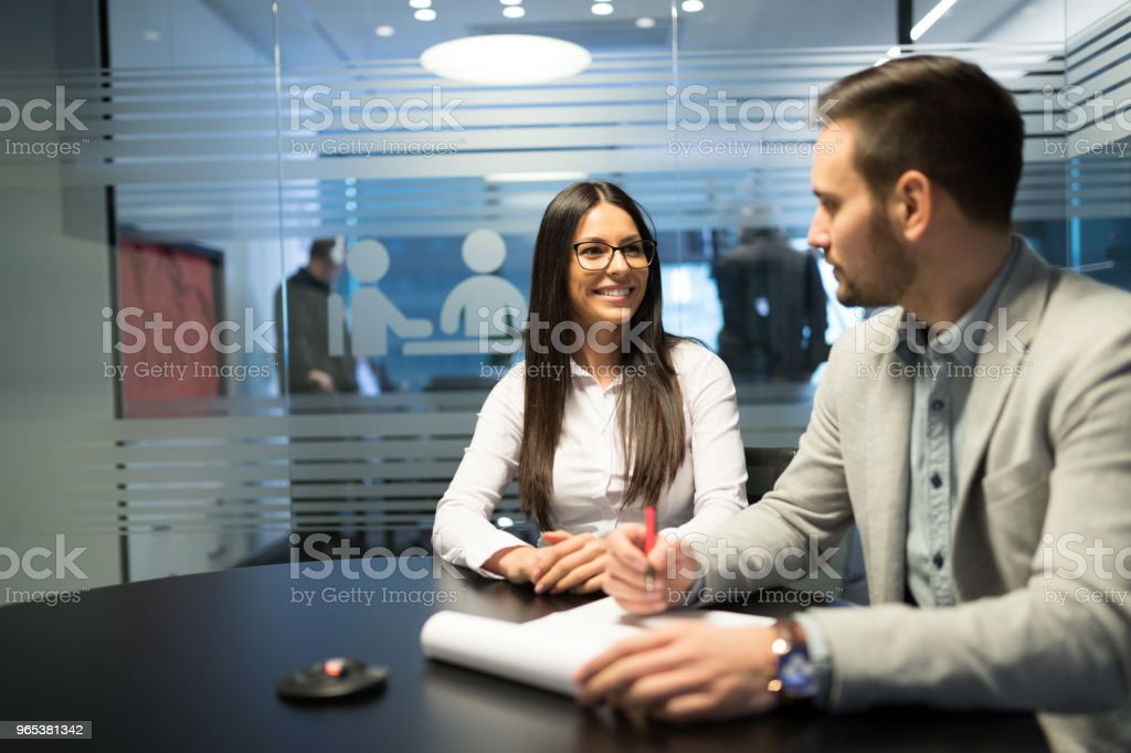Picture of business people discussing in office zbiór zdjęć royalty-free