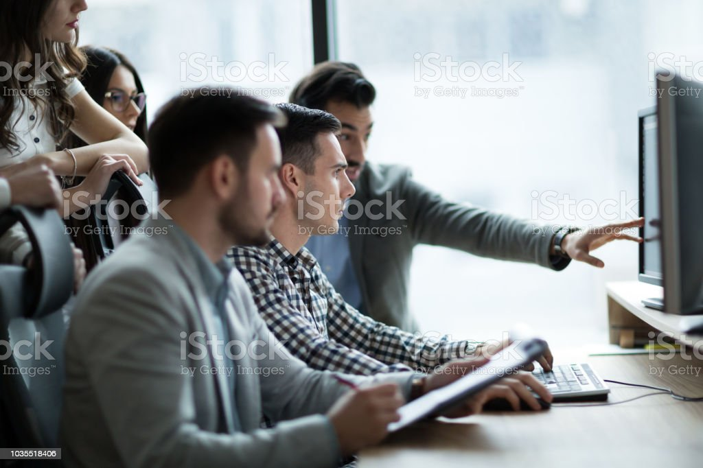 Picture of business people working together in office stock photo