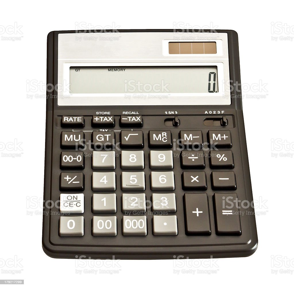 Picture of calculator. Isolated on white background royalty-free stock photo