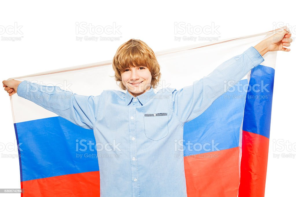 Picture of Caucasian boy waving Russian flag stock photo