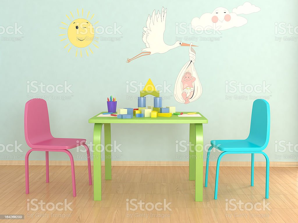Picture of colorful child play room stock photo