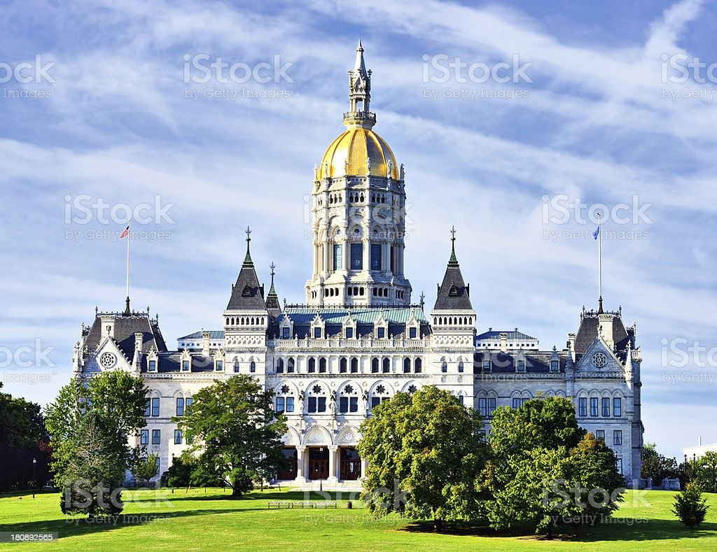 Picture of Connecticut state Capitol with lush landscaping stock photo