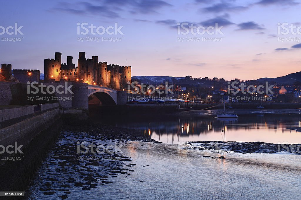 A picture of Conway Castle at dusk stock photo
