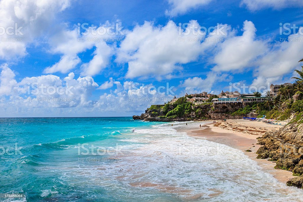 Picture of Crane Beach in Barbados with beautiful blue sky stock photo