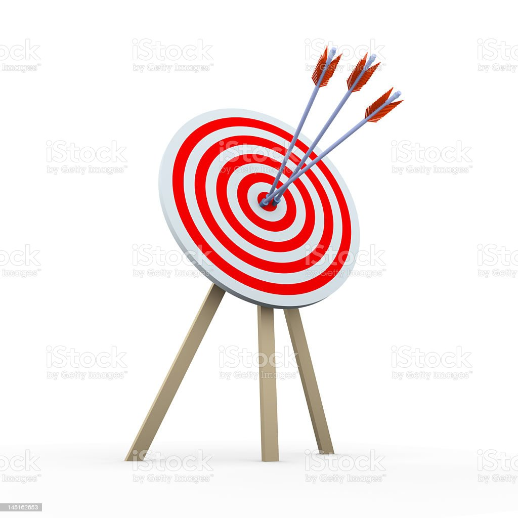 Picture of dart board on a stand with a triple hit of darts royalty-free stock photo