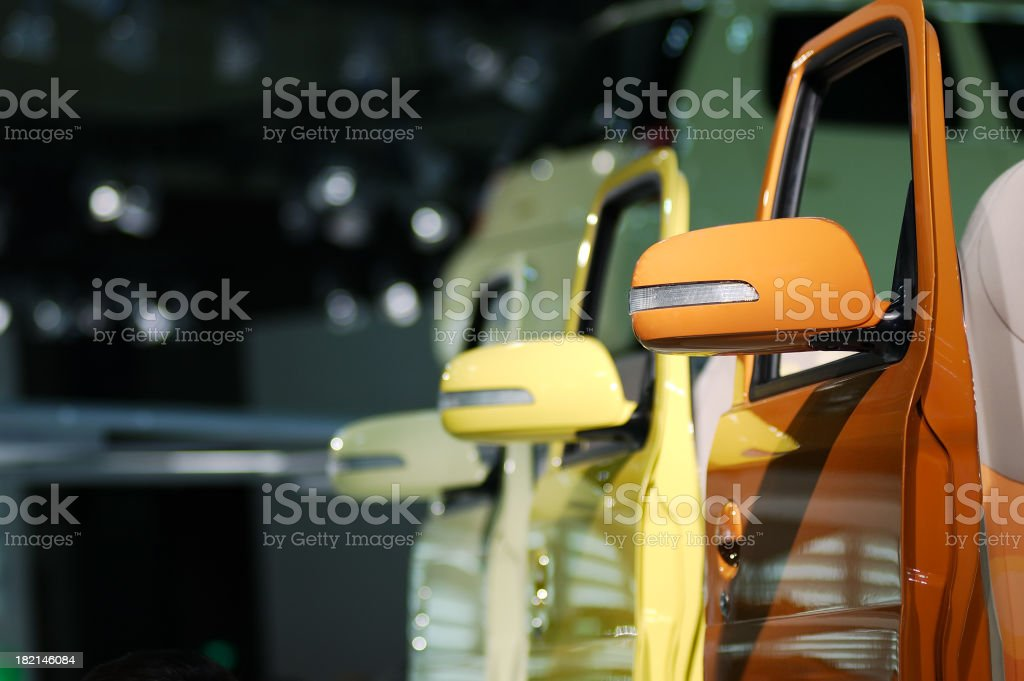 A picture of different colored car doors stock photo