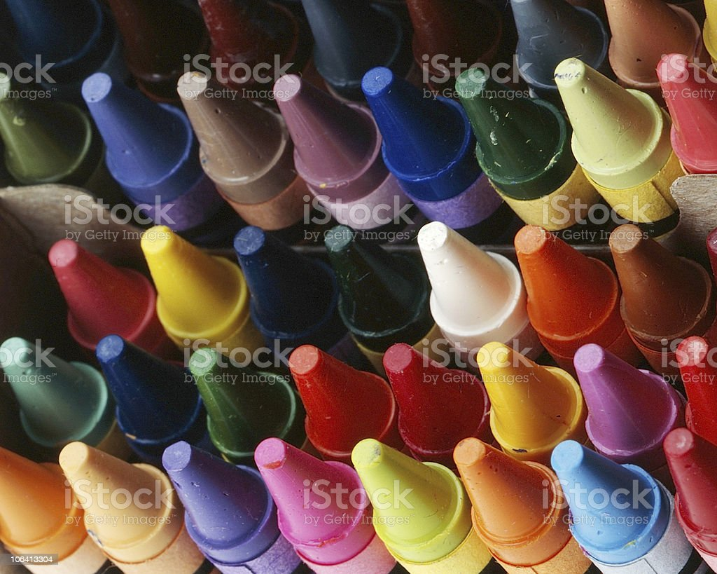 A picture of different colored crayons stock photo