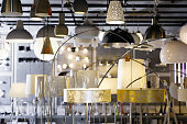 Picture of different modern lamp with lights in the  designer furniture store