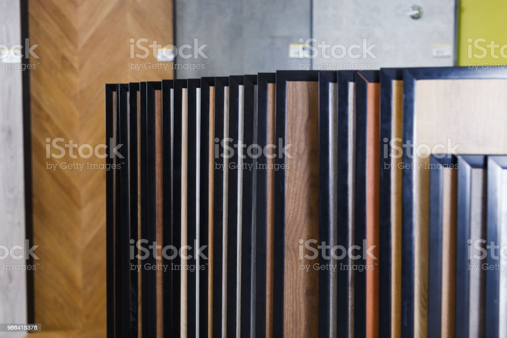 Picture of different wooden  laminated flooring stock photo