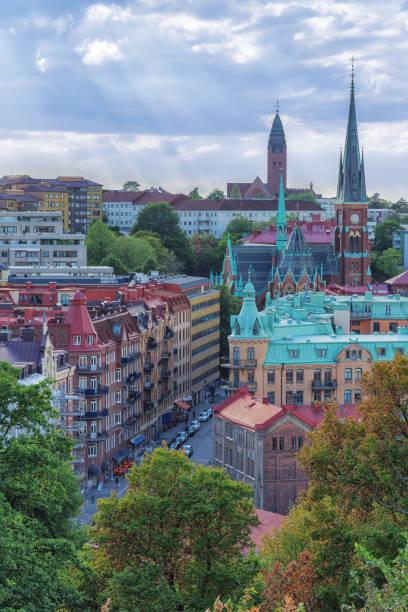 bild av europeisk stad översikt från toppen med blå himmel och moln - liseberg bildbanksfoton och bilder