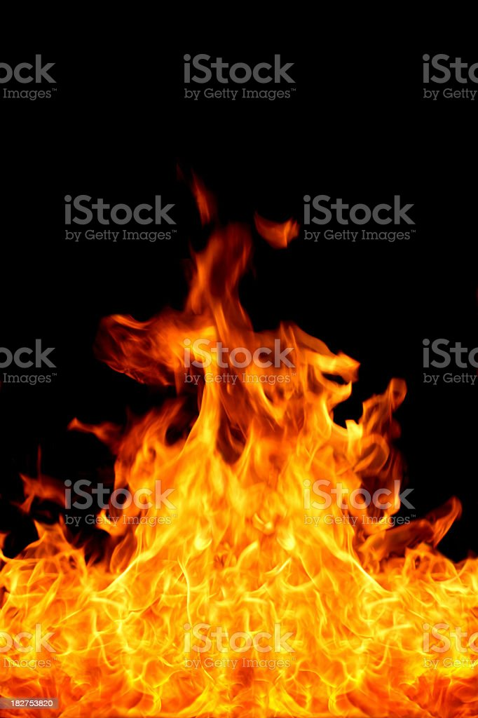 A picture of fire flames on a black background stock photo