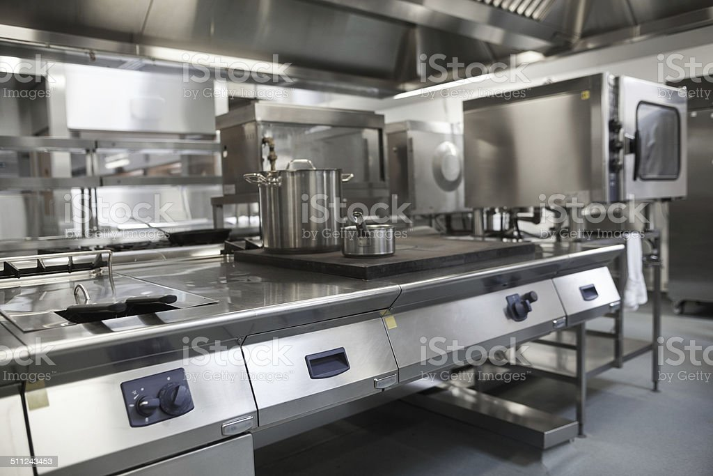 Picture of fully equipped professional kitchen stock photo