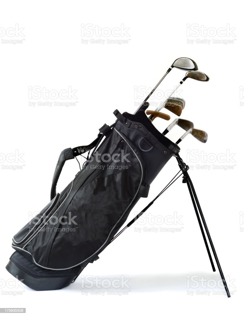 A picture of golf clubs in a black bag royalty-free stock photo