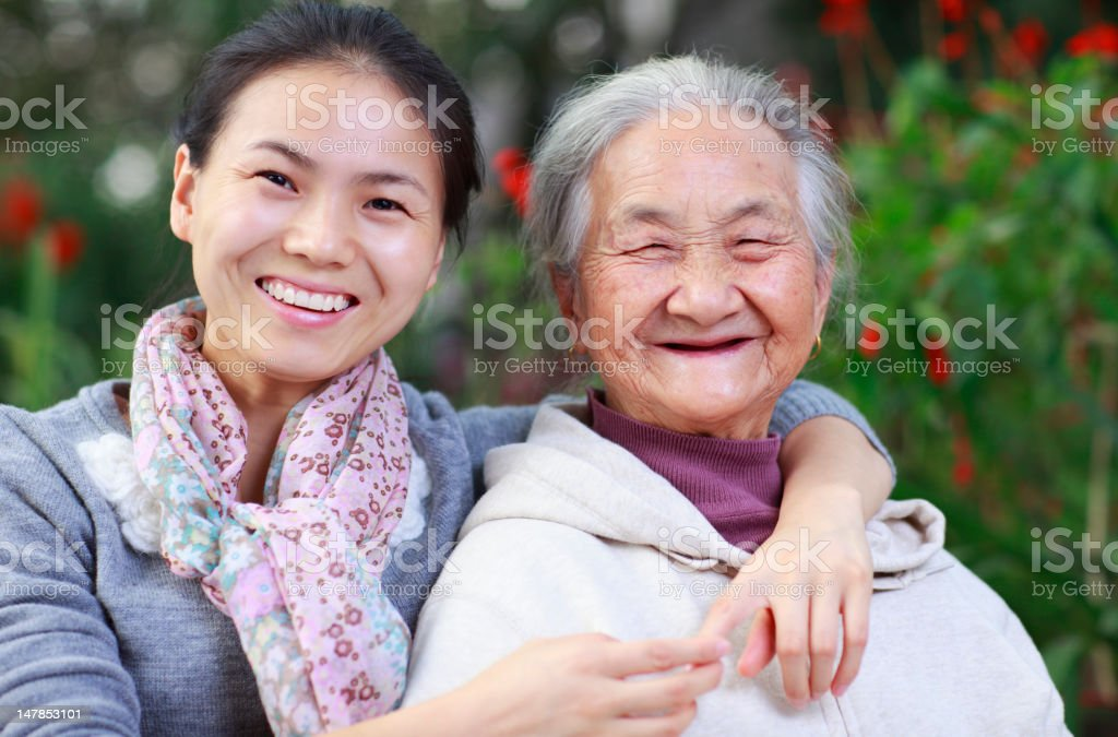 picture of happy grandmother with granddaughter royalty-free stock photo