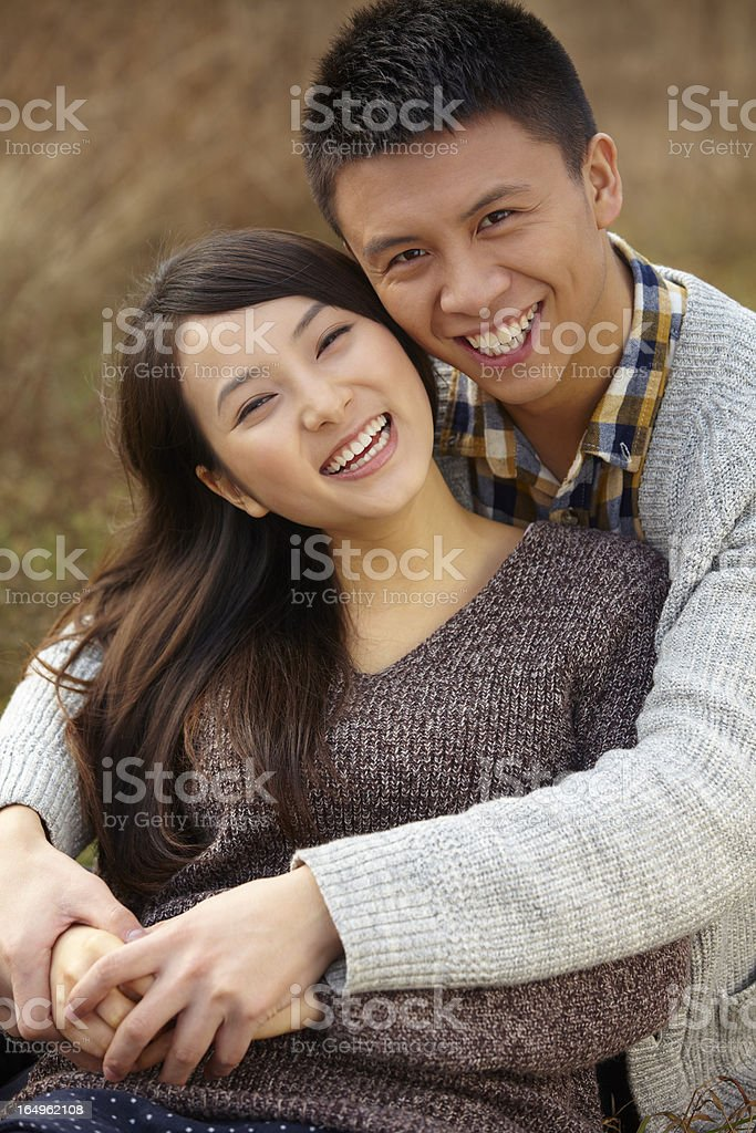 picture of happy young couple together outdoor royalty-free stock photo