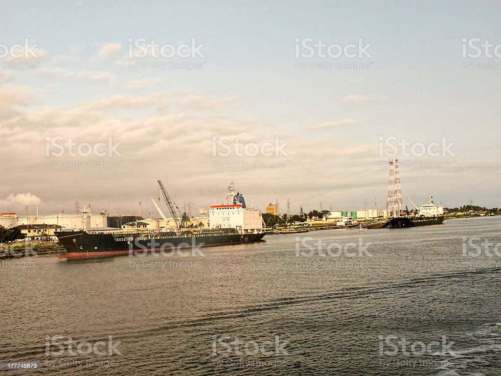A picture of harbor of Abidjan stock photo