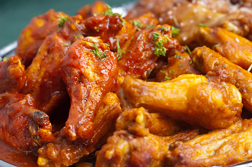 Selective-focus image of Spicy Buffalo Chicken Wings