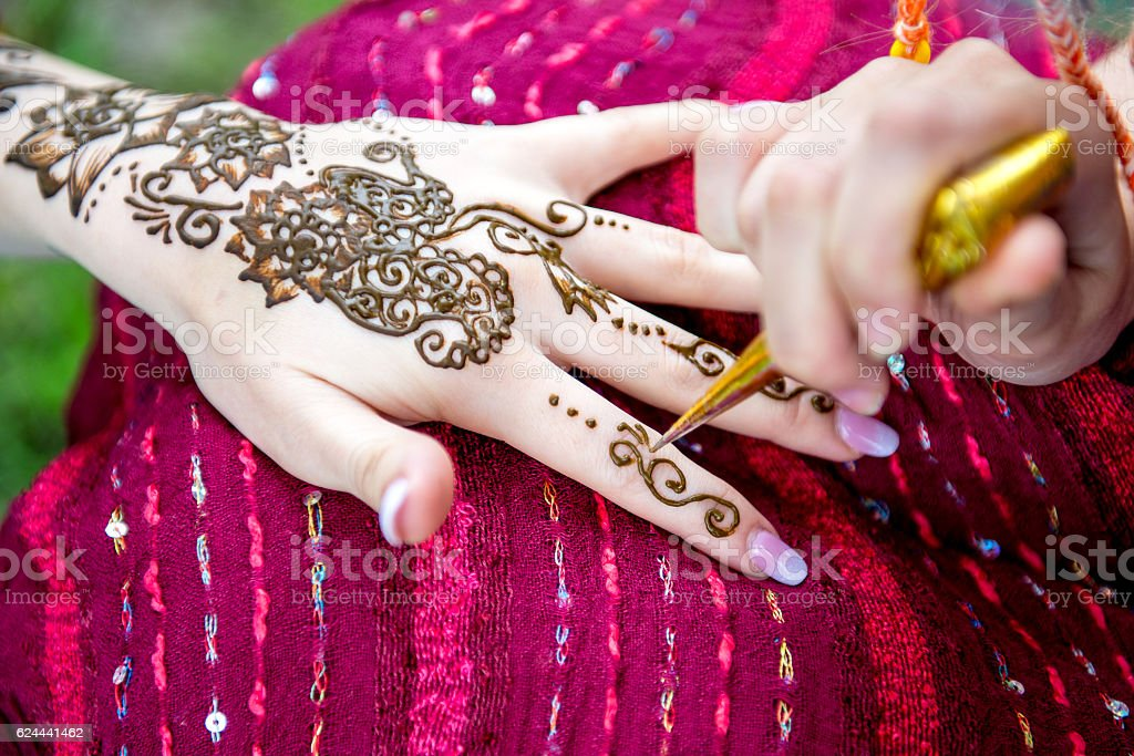 Picture Of Human Hand Being Decorated With Henna Tattoo Mehendi