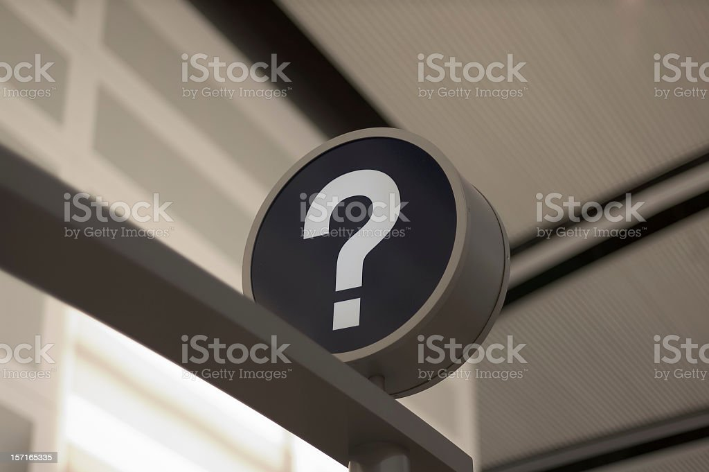 Picture of information sign with white question mark stock photo