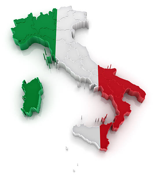 3d picture of italy colored like the italian flag - italy map stock photos and pictures