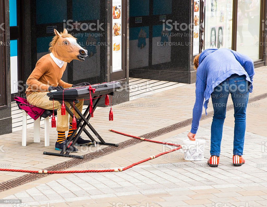 Picture of man busking stock photo