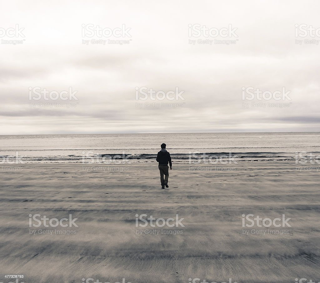 Picture of man from behind walking on a beach stock photo