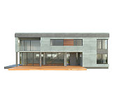 Picture of modern architecture, isolated building, 3D rendering, front view