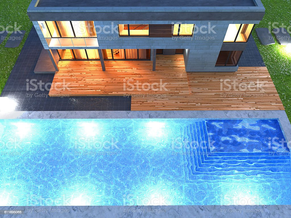 home swimming pools at night. Picture Of Modern Architecture, House, Night Scene, Top View Royalty-free Home Swimming Pools At