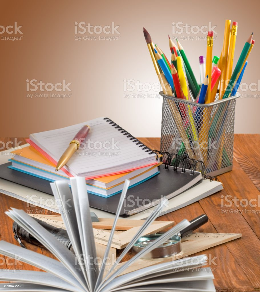 picture of notebooks, books and stationery close-up stock photo