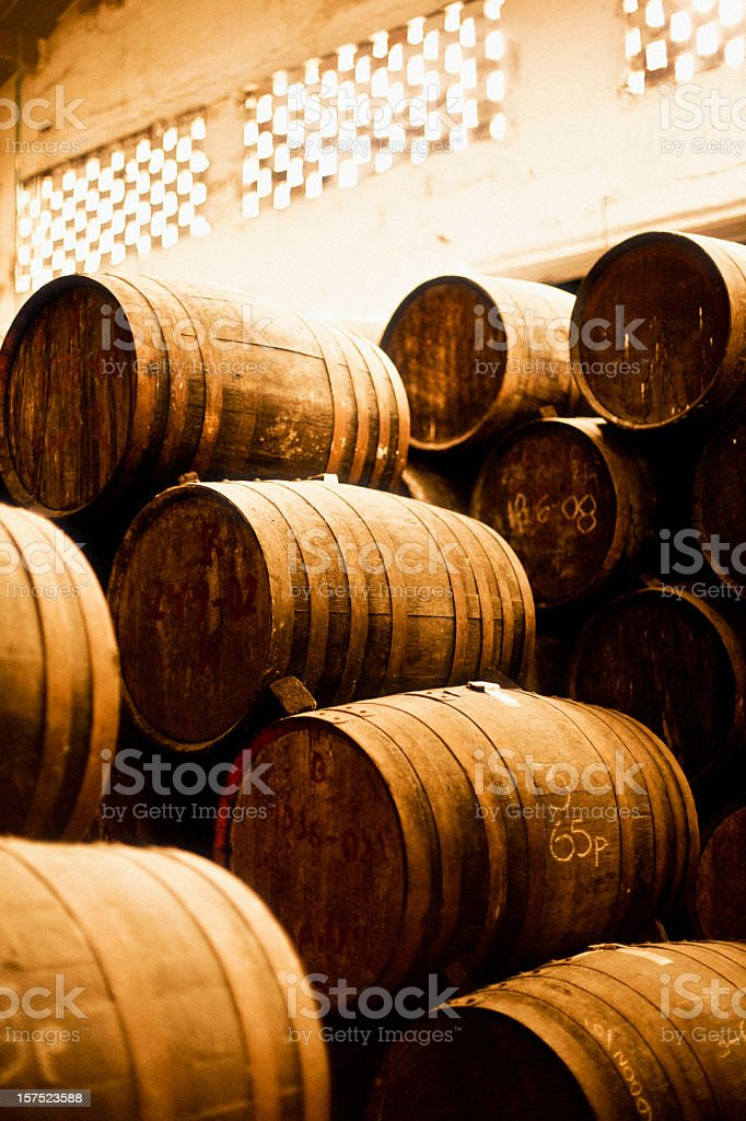 Picture of old barrels at a rum factory stock photo