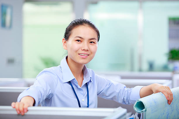 picture of one young asian businesswoman in the office stock photo