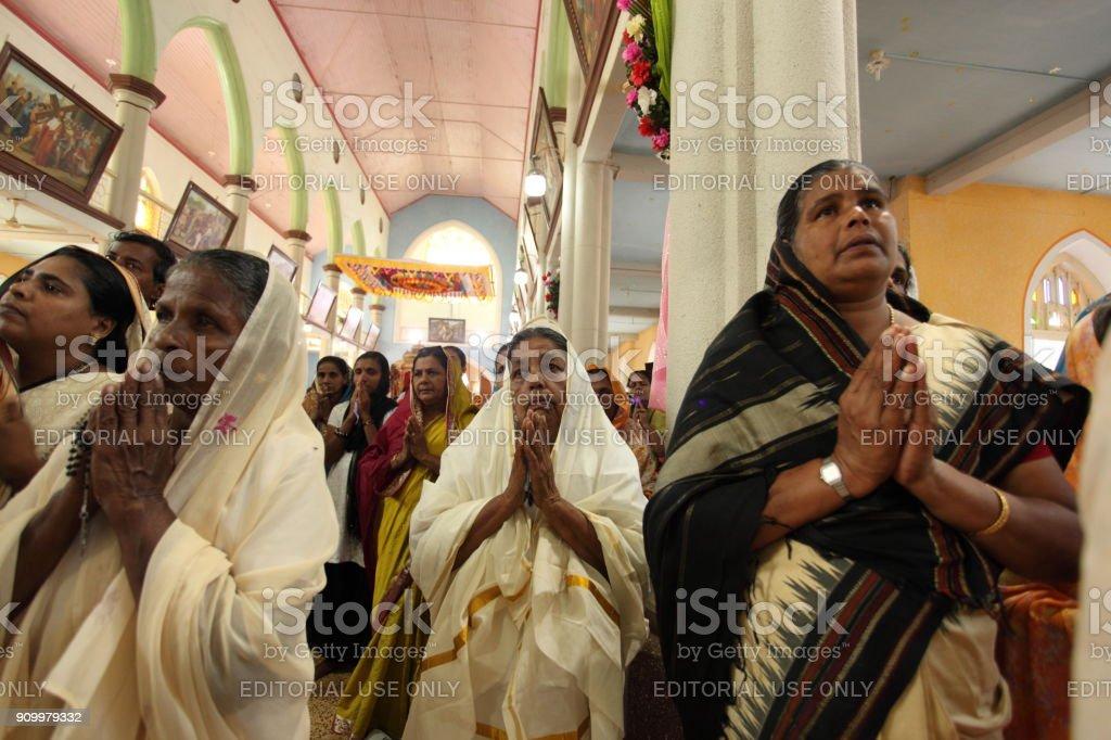 Alappuzha, Kerala, India - January 27, 2011: Picture of people worshiping Jesus in Kerala. stock photo