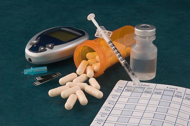 A picture of pills and diabetic supplies stock photo
