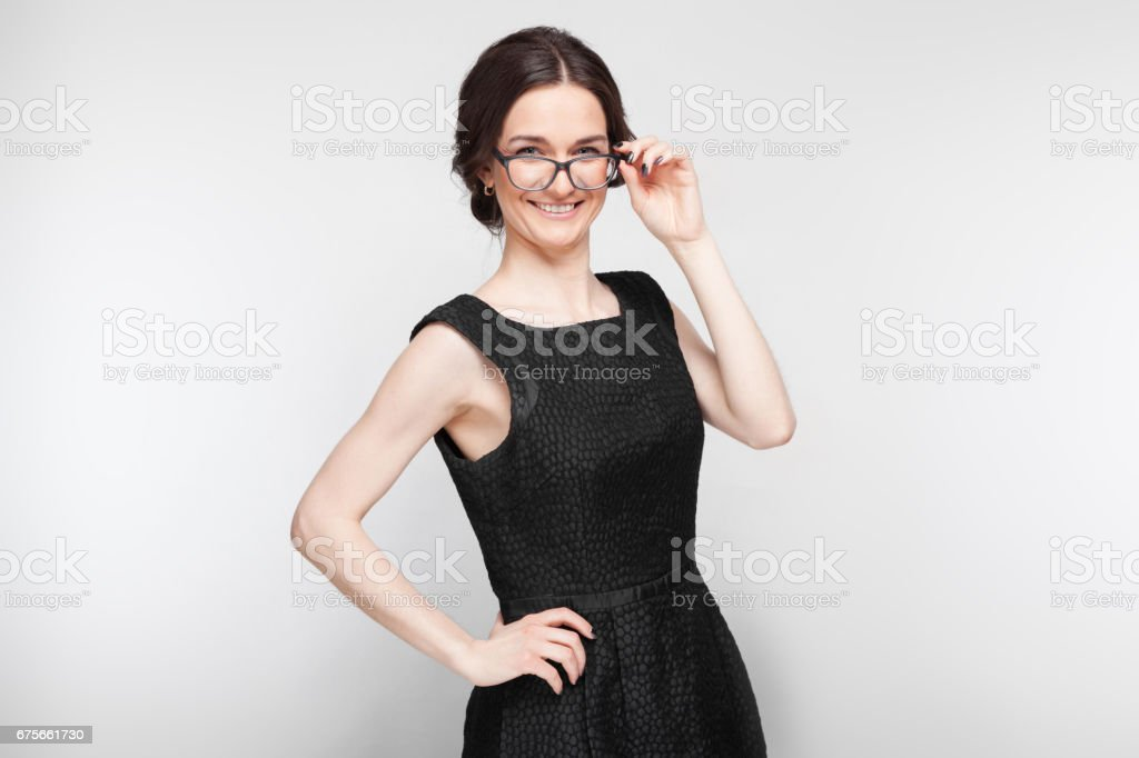 Picture of pretty woman in black dress royalty-free stock photo