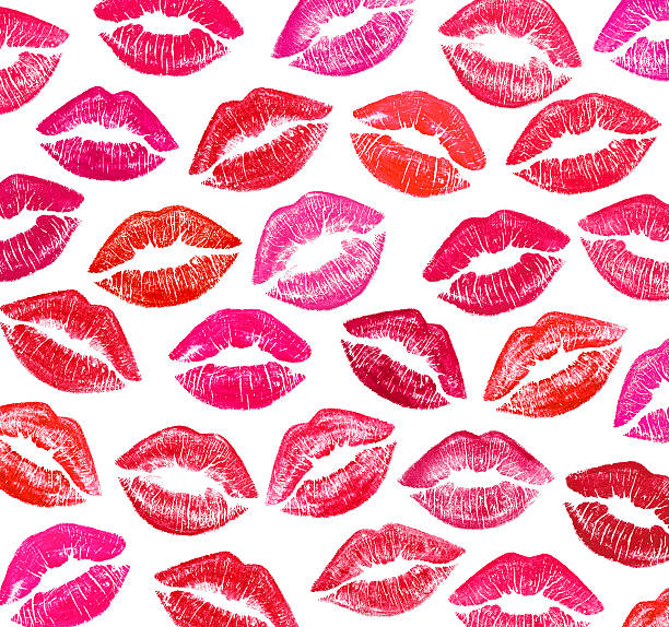 A picture of red and pink lips stock photo