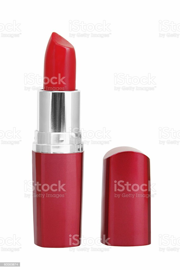 A picture of red lipstick in a red tube stock photo