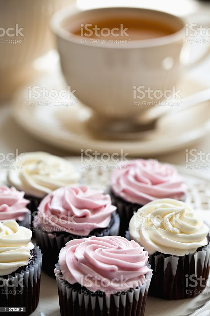 Picture of several muffins on a plate and a cup of tea  royalty-free stock photo