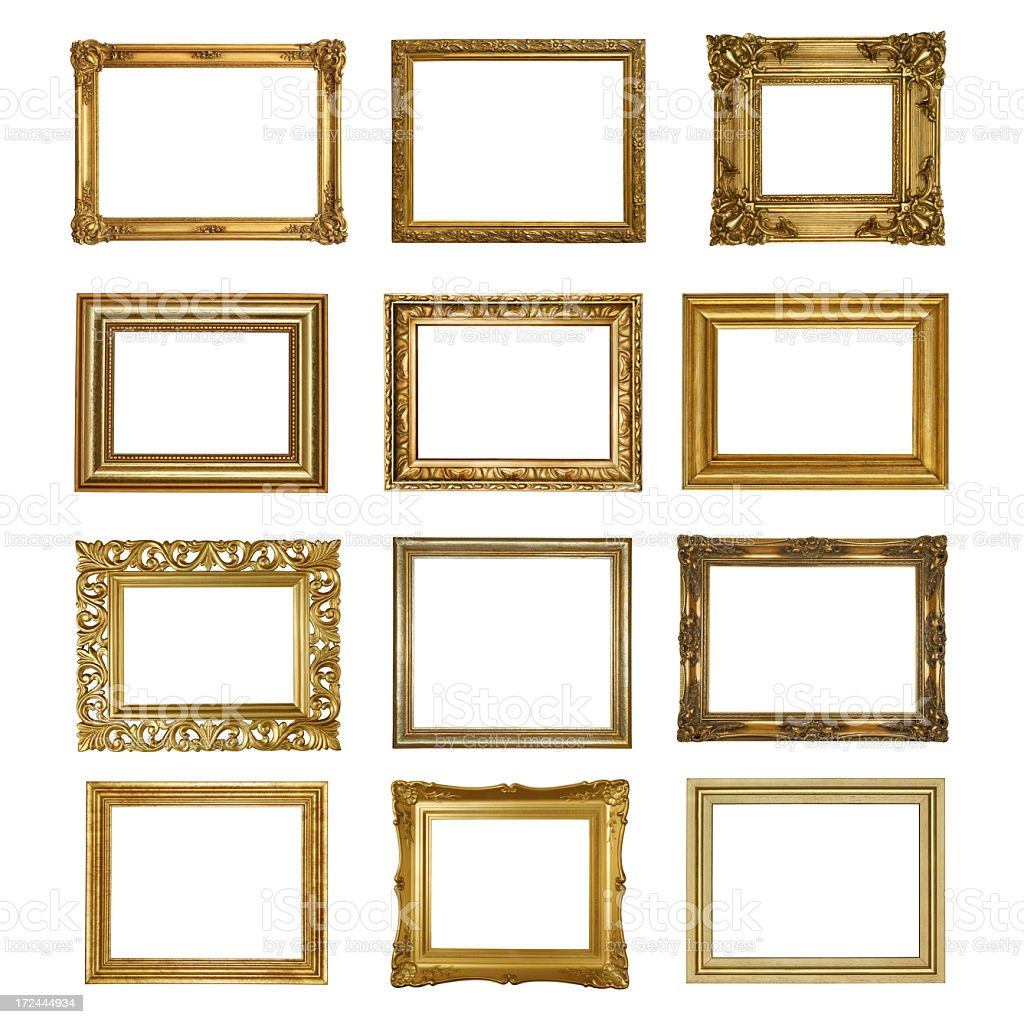 A picture of six gold picture frames royalty-free stock photo
