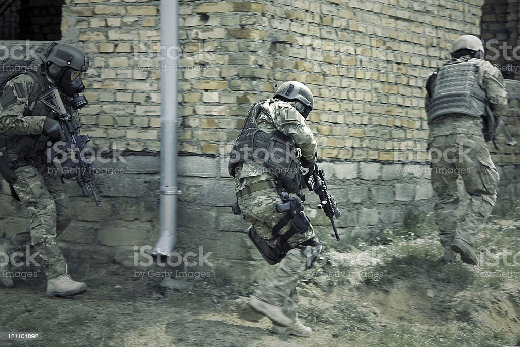 A picture of special forces soldiers in action stock photo