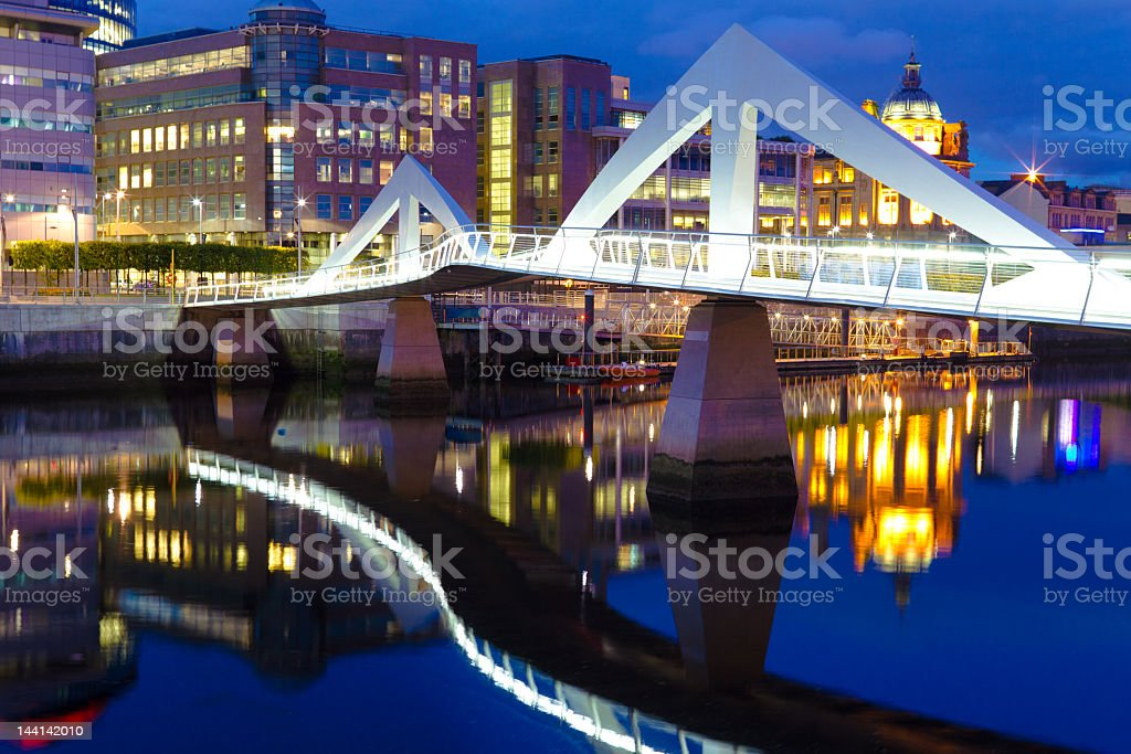 A picture of the Glasgow squiggly bridge stock photo