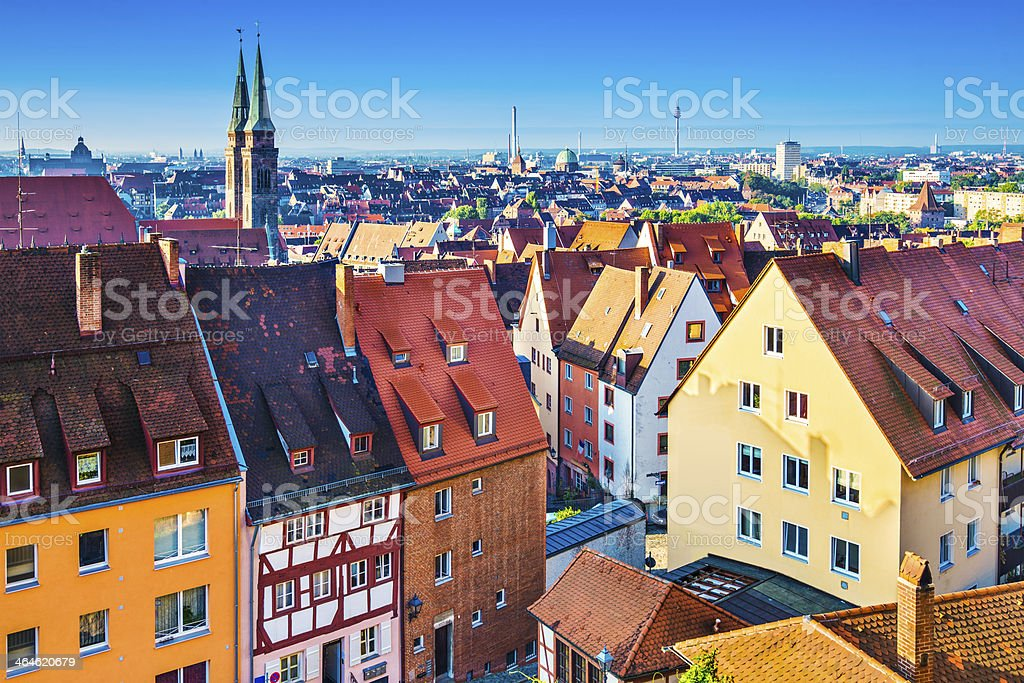Picture of the houses in Nuremberg in Germany stock photo