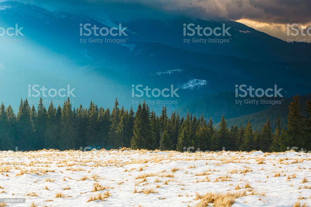 Picture of the mountains covered clouds stock photo