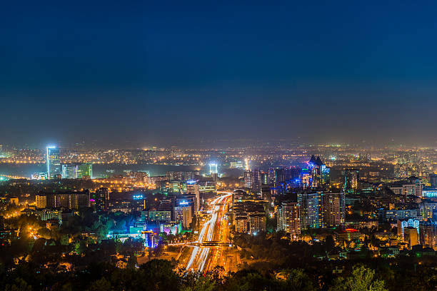 Picture of the night lighting of the city of Almaty stock photo