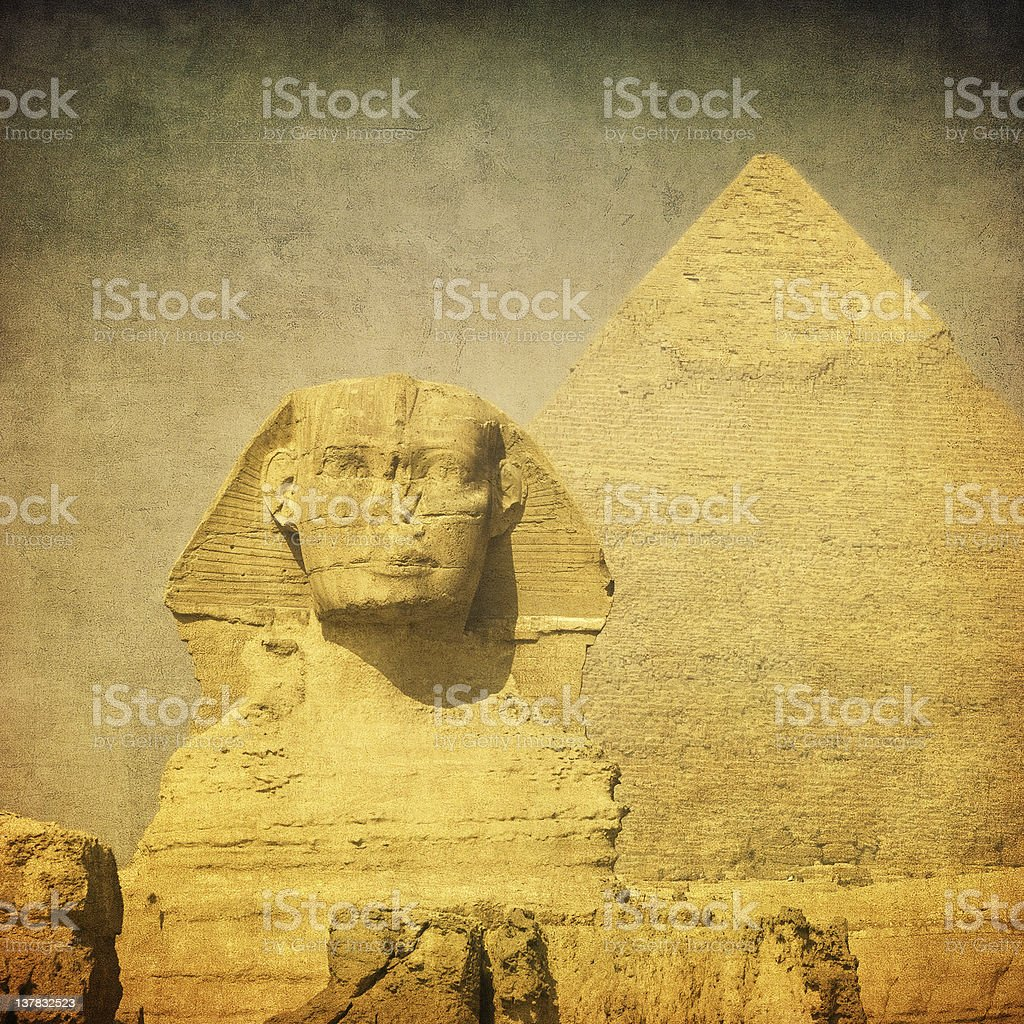 A picture of the Sphinx and a pyramid royalty-free stock photo