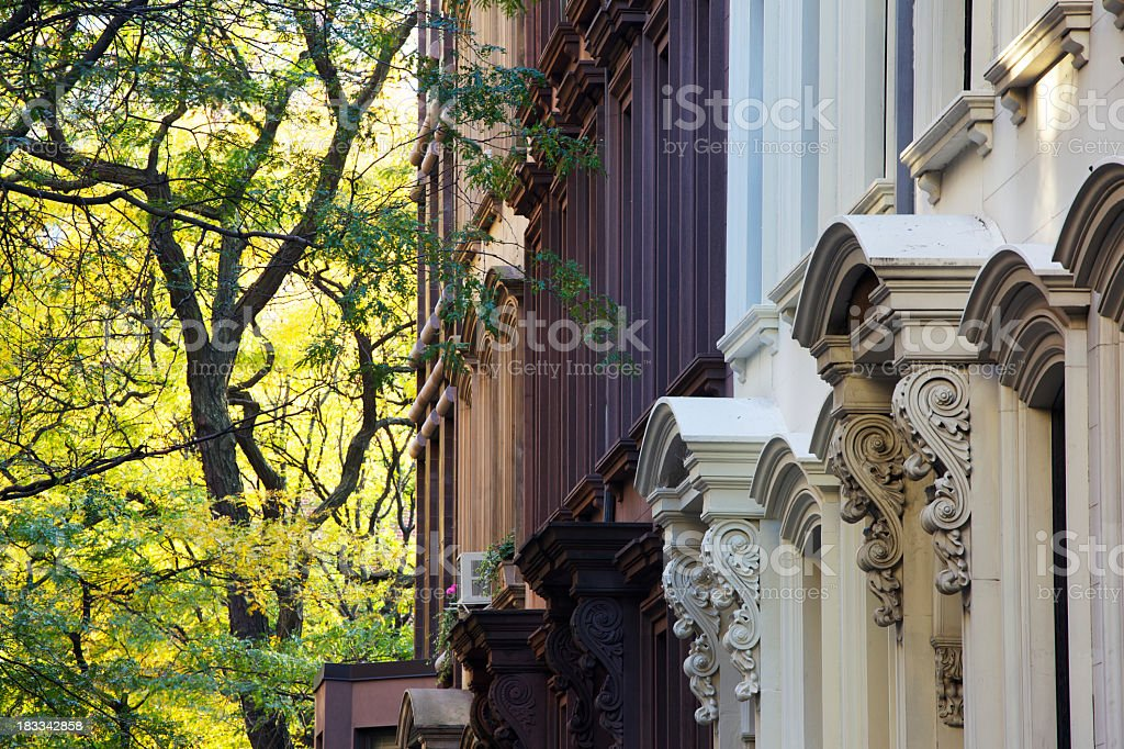 A picture of the tops of New York Brownstones royalty-free stock photo