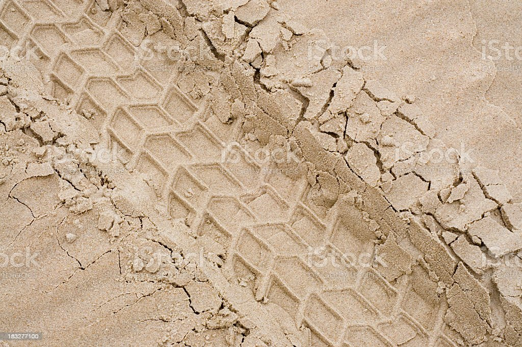A picture of tire tracks in the sand stock photo